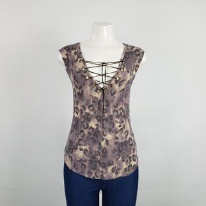 Guess Brown Animal Print Lace Up Top Size M